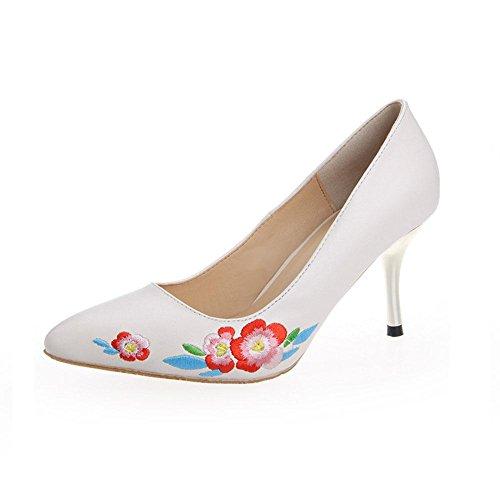 WYWQ Scarpe da donna con tacco alto e scarpe da passeggio Moda Autunno Scarpe da ricamo con piega folk-personalizzate Scarpe a punta Taglia unica white
