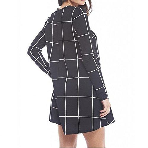 Desire Clothing robe évasée à manches longues imprimé carreaux tartan Swing Tailles 8–22 Black/White Check