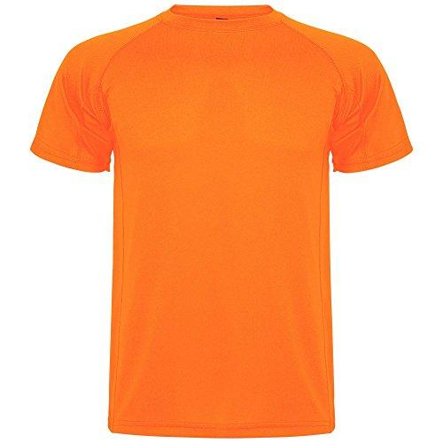 Roly Camiseta Técnica de Niños Montecarlo, Naranja Fluorescente (12 Años)
