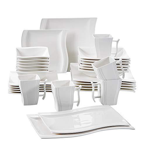 MALACASA, Serie Flora, 32 TLG. Cremeweiß Porzellan Geschirrset Kombiservice Tafelservice mit je 6 Schalen, 6 Dessertteller, 6 Suppenteller, 6 Speiseteller, 2 Rechteckigen Platten und 6 Becher Rechteckige Platte