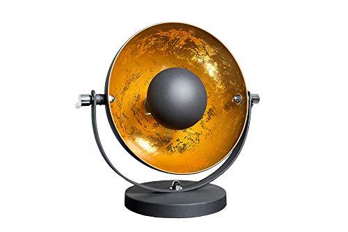 DuNord Design Tischlampe Tischleuchte CINEMA schwarz/gold Retro Design Lampe Kugellampe -
