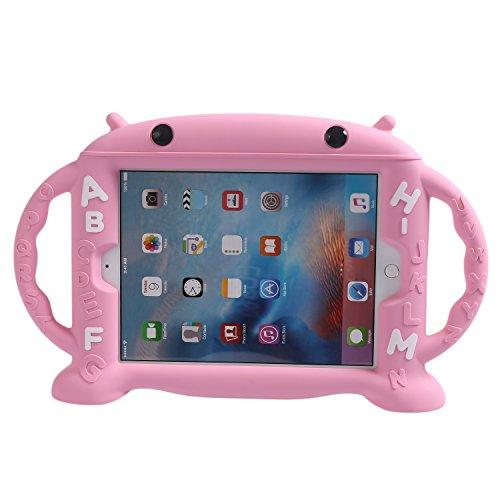 tzhülle Kinderfreundliche Hülle für iPad 9,7 Zoll 2017 / iPad Air / iPad Air 2 / iPad Pro 9,7 / iPad 9.7 2017/ 2018, Silikon Stoßfest Leichtgewicht mit 2 Handgriffen (Rosa) ()