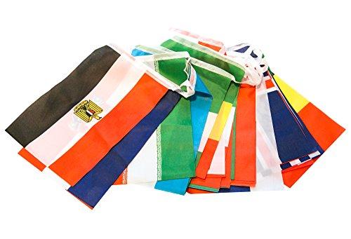 Preisvergleich Produktbild Cindio 8 Meter 32 Länder Fahnen Wimpelkette Fahnenkette Flaggenkette Girlande WM Russland 2018