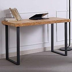 Natural, Mesa de Estudio, Escritorio o despacho, Mesa de Oficina Color Roble Salvaje y Negro, Medidas: 120 x 60 x 73 cm de Alto
