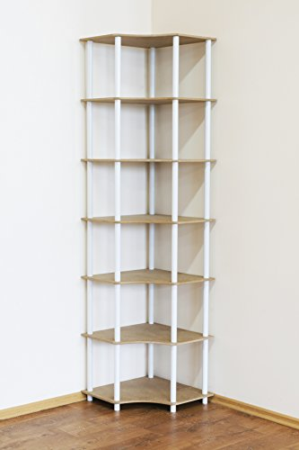 Rohrregal 7 Böden Eckregal Breite 56cm Zimmer- Büro- Bücher- Kellerregal ... ... (Weiß) DEDAL-7W