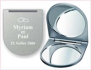 Miroir de poche personnalisé par gravure laser