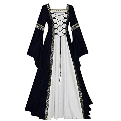 MAYOGO Damen Vintage Mittelalterlich Renaissance Gothic Cosplay Kleid Bodenlangen Retro Trachten Keltisch Kleidung Fun…