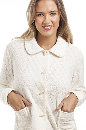 Camille Womens Ladies Ivory Floral Print Jacquard Fleece Bed Jacket - 41uAfq0RpkL - Camille Womens Ladies Ivory Floral Print Jacquard Fleece Bed Jacket