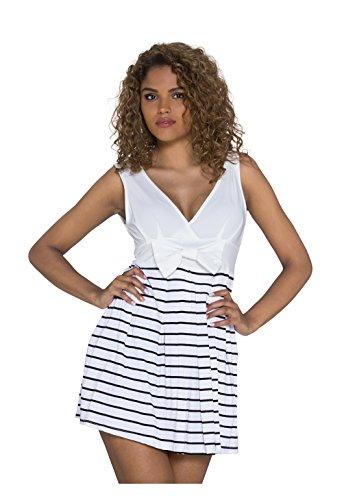 Tailliertes Freizeit-Minikleid mit Breton-Streifen Weiß/Schwarz