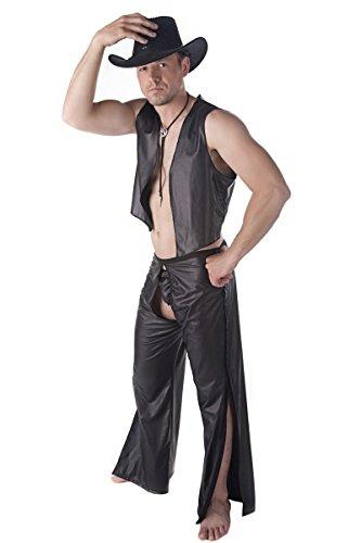 Sexy 3-teiliges Männer Dessous wetlook Cowboy-Set Kostüm aus String, Weste und Chaps Hose schwarz (Cowboy Kostüme & Weste Schwarze Chaps)