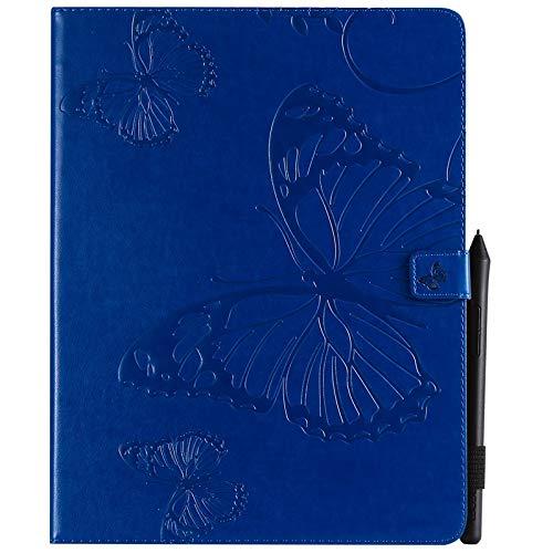 ANNFENG Mode Retro Schmetterlings-Blumenmuster PU-Leder-Mappe Anti-Kratzschutz-Schutzfall für neues iPad Pro 2018 (3. Gen), mit Halter-Kartensteckplatz-Mappe Abdeckung (Farbe : Blau) (Gummi-anmerkung Telefon-abdeckungen 3)