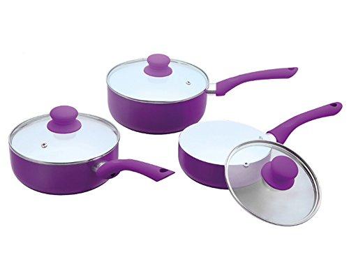Ricco Lot de 3 casseroles avec revêtement en céramique 16 cm, 18 cm et 20 cm en noir, vert, violet ou rouge, Aluminium coulé, violet, 20 x 8.5 cm