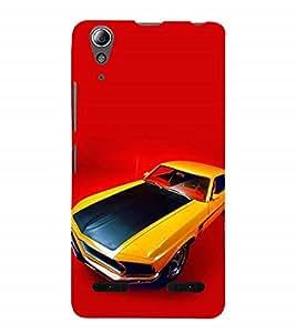 Nextgen Designer Mobile Skin for Lenovo A6000 :: Lenovo A6000 Plus :: Lenovo A6000+ (Car yellow Car Vintage car Red Stunning Car)