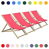 Harbor Haushalt Traditioneller verstellbar Holz Beach Garden Deck Chair - Pink - 4er-Pack