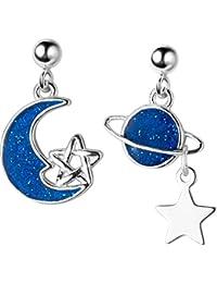 ef428742a93b Golden flower Pendientes de Plata S925 del Planeta Mujer Han Pequeña Luna  Azul Fresca Joyería de Oreja de Estrella…