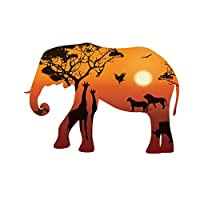 Africa Peaceful Style Sunset Elephant Animal Wall Sticker for Home Decor