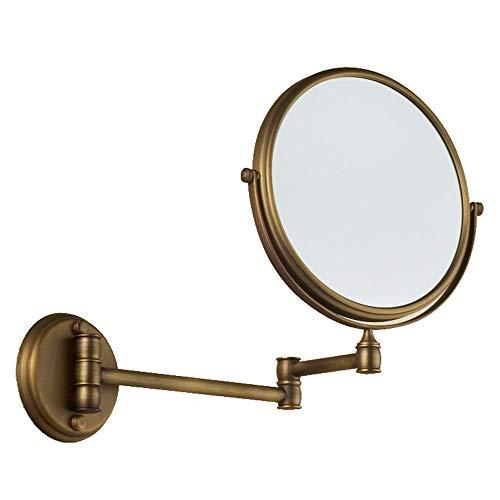 8-Zoll-antiker beidseitiger Schminkspiegel zur Wandmontage mit dreifacher Vergrößerung, Antikmessing-Finish, runder Spiegel zur Wandmontage, ausziehbarer Kosmetikspiegel, Messing gebürstet, 360 ° dreh -