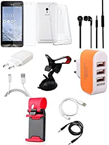 NIROSHA Tempered Glass Screen Guard Cover Case Charger Headphone USB Cable Mobile Holder for ASUS Zenfone 6 - Combo