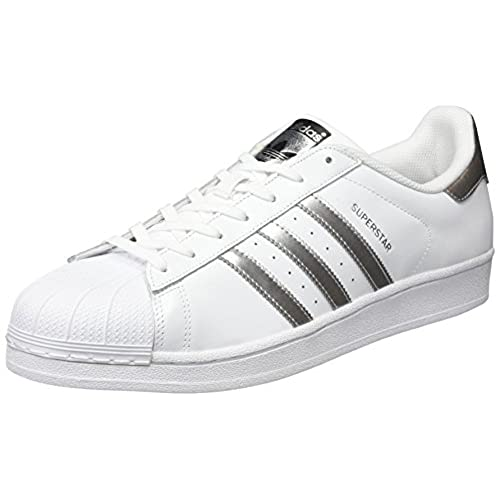 adidas Originals Women's Superstar Basketball Shoes, Multicolor  (Ftwwht/Silvmt/Cblack), 6 UK