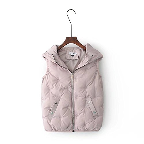 MEI&S Womens Winter Hooded Débardeur long manteau Puffer Cotton-Padded pink