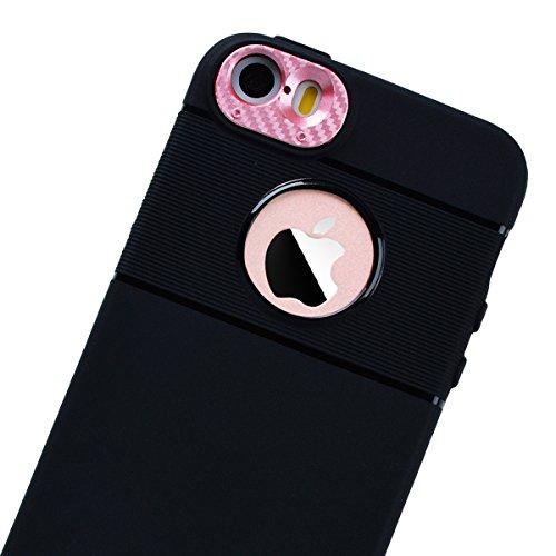 HB-Int Schutzhülle für iPhone SE / 5S / 5 Schwarz Handytasche mit Eingebauter Magnetplatte Rosegold Kameraobjektiv Schutz Silikon Back Hülle Magnetische Auto Mount Plate Bumper Case Rosegold
