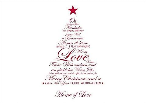 Erhältlich im 1er 4er 8er Set: Einfache Klappgrusskarte/Weihnachtskarte/Glückwunschkarte/Neujahrskarte/Grusskarte mit einem roten Typo-Tannenbaum und Text-Varianten für Neujahr/Weihnachten (Spanisch, Italienisch, Englisch, Französisch, Deutsch). Text: