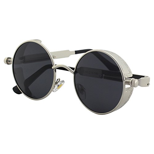 CGID Retro Sonnenbrille im Steampunk Stil, runder Metallrahmen, polarisiert, für Männer, (Wars Star Kostüme Sie Stellen)