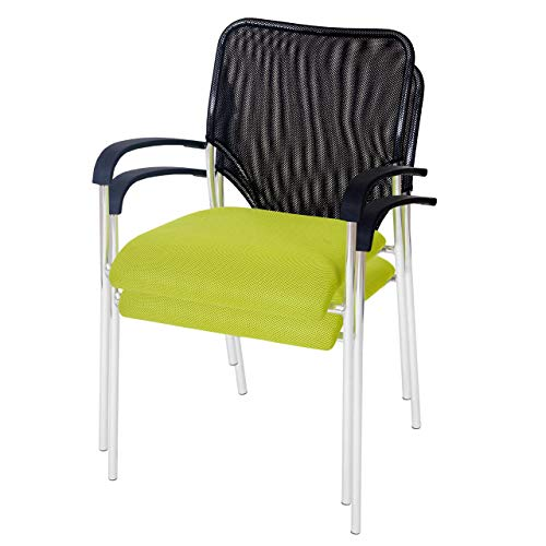 Mendler 2X Besucherstuhl Tulsa, Konferenzstuhl stapelbar, Stoff/Textil ~ Sitz grün, Rückenfläche...