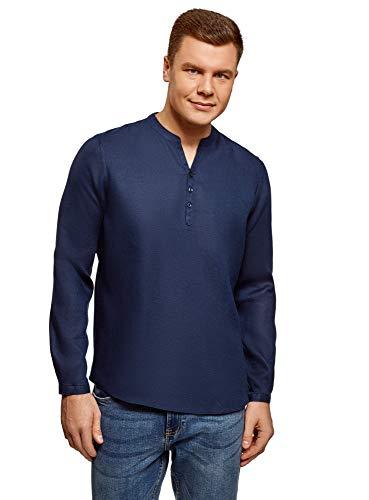 Oodji ultra uomo camicia in lino senza colletto, blu, 41 сm/it 48 / m