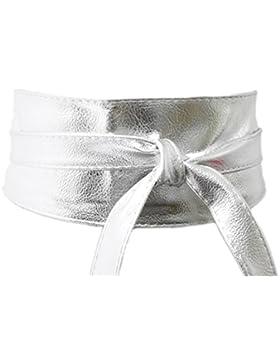 Cinturón Ancho Plateado Fiesta de Mujer para Combinarlo Con Vestidos o Faldas, Accesorio Imitación Piel