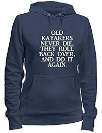 6c77dfb5fb T-Shirtshock Sudadera con Capucha para Las Mujeras Azul Navy GEN0332 Old  Kayakers Never Die