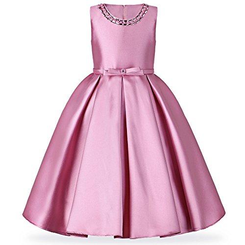 HUAANIUE Mädchen Kleid Lang Brautjungfer Festlich Hochzeit Abendkleid, Rosa, Gr. 6-7 Jahre(Etikett 8)