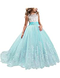 NNJXD Girls Lace Tulle Embroidered Princess Prom Ball Gown Formal Party Long Tail Dresses