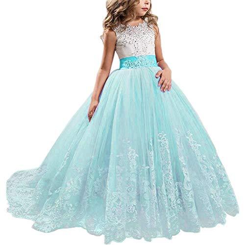 NNJXD Mädchen Spitze Applique bestickt Hochzeit Brautjungfer Prom Schule Abendgesellschaft Ballkleider Kinder Tüll Prinzessin langes Kleid. Größe (170) 13-14 Jahre Hellblau