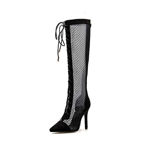 Europa und Amerika hohl Stiefel Sexy Riemen High Heel Sandalen wies Mesh Damenschuhe (Farbe : Schwarz, größe : 35)
