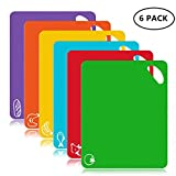FUKTSYSM Plastic Cutting Board - 6 Pcs Extra Thick Flexible Plastic Chopping Board Mats with Food Icons, 1.3 MM Non Slip Antimicrobial Easy Hanging Boards, Dishwasher Safety