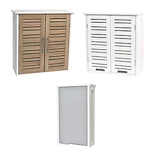 TENDANCE Mueble Alto de Sala de baño a Colgar en la Pared – 1 Almacenamiento 1 Puerta – Color Blanco y Gris