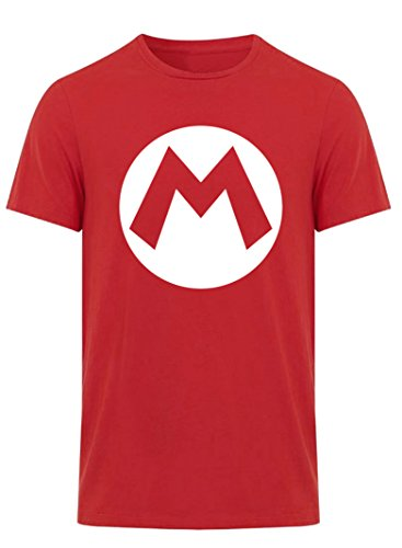 Adults Super Mario Brothers Mario Logo Red T-Shirt