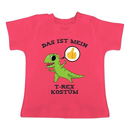 Karneval und Fasching Baby - Das ist Mein T-Rex Kostüm Comic - 18-24 Monate - Fuchsia - BZ02 - Baby T-Shirt Kurzarm