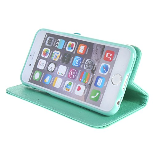 """MOONCASE Étui pour iPhone 6 / 6S (4.7"""") Cherry Magnetic Closure Cuir Housse de Étui à rabat Portefeuille Case Coque en Protection Noir Azur #1228"""