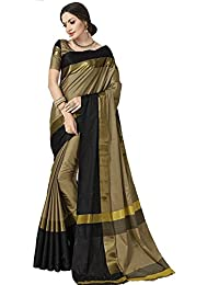 Indian Beauty Women's Cotton Silk Saree With Blouse Piece (Black-N-Chiku_Chiku)