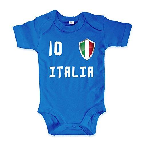 net-shirts Organic Baby Body mit Italia Italien 02 Aufdruck Fußball Fan WM EM Strampler - Spielernummer wählbar, Größe 12-18 Monate-Spielernummer 11 - Fußball Body