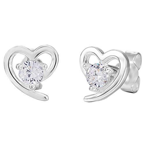 Munkimix 925 sterling silver orecchini zirconia cubica zircone argento cuore donna