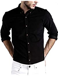 DEZANO Men's Cotton Solid Full Sleeve Button Down Shirt - Black