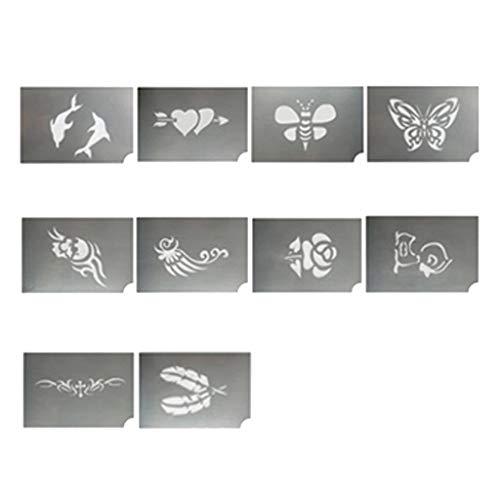 B Baosity 10 Stück Tier Blume Body Art Face Paint Stencils Schablone für Geburtstag, Party, Weihnachten, Festival