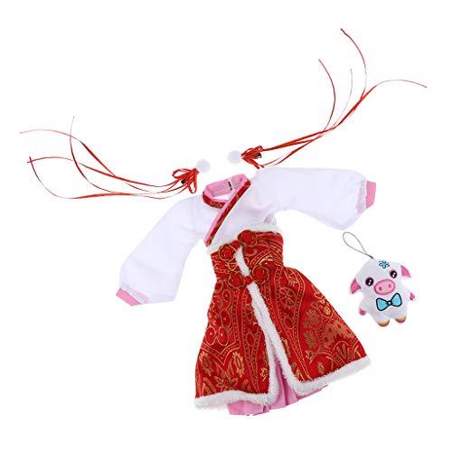FLAMEER Puppenkleider Traditionelle Kleidung im Chinesisch Stil Kleid Prinzessin aus Baumwolle, Spielzeug für ()