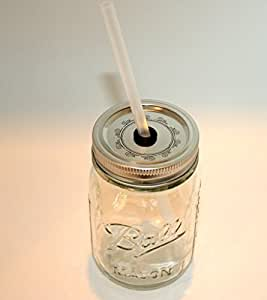 Mason Jar Lid with Reusable Straw turn your mason jar into a glass by Chalkallaboutit