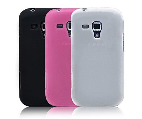 3 en 1 Xcessor Vapour Funda Carcasa de TPU Gel Flexible Para Samsung Galaxy S Duos S7562 / Trend Plus S7582. Conjunto de los 3 Matt y Funda Duradero. Negro / Opaco Blanco / Rosa