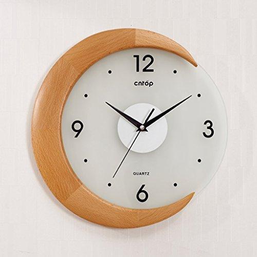 Sunjun Pastoral Wanduhr Kreative Wohnzimmer Uhren Buche Moderne Garten Art Deco Uhr kreativer Taktgeber (Farbe : Braun)