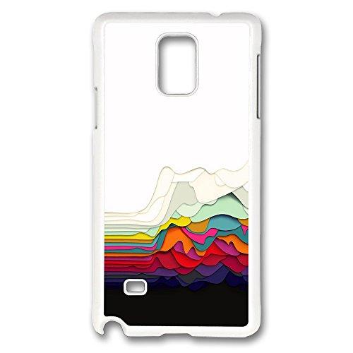 Galaxy Note 4Coque, la créativité Motif abstrait imprimé coloré Tissu Fun Perfection Étui antidérapant [Fonction] [ajustement parfait slim] Coque en plastique rigide blanc HOUSSES POUR